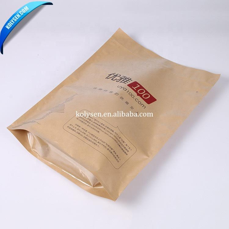 Wholesale Custom kraft paper bag bolsas kraft ziplock paper bag with logo and zipped seal
