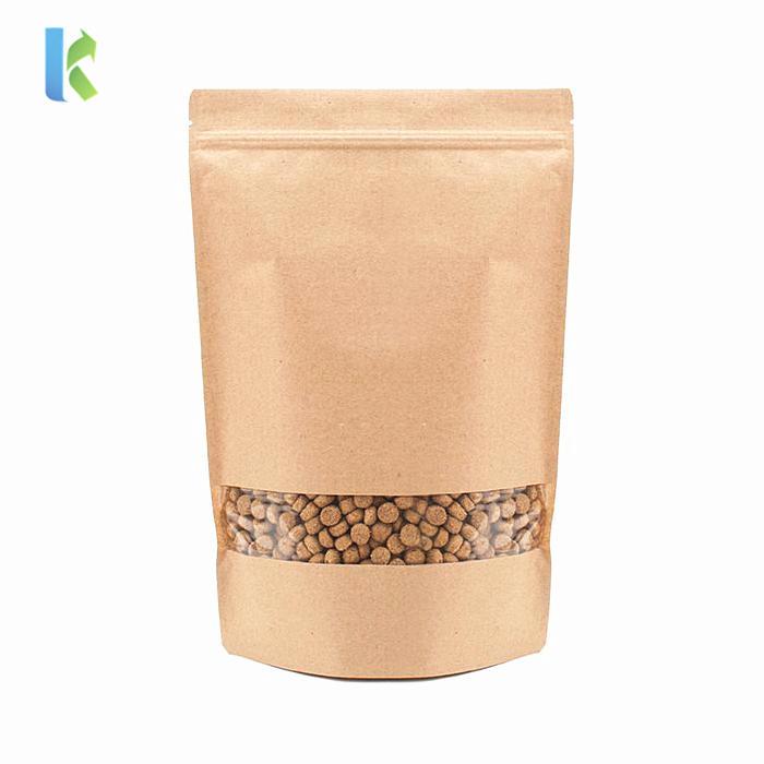 Wholesale Doypack Food Moisture Barrier Bags Ziplock Stand up Pouch Kraft Paper Packaging Sealing Brown Zipper Top Accept