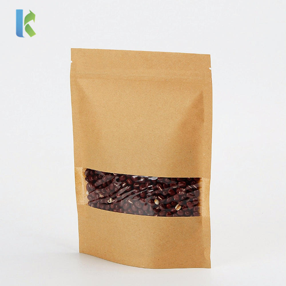 Wholesale Doypack Ziplock Brown Kraft Paper Stand Up Pouches Food Packaging Coffee Zipper Bags With Clear Window
