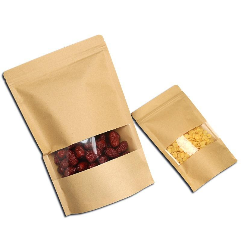 Food Packing Brown Kraft Stand Up Zipper Bag with Window