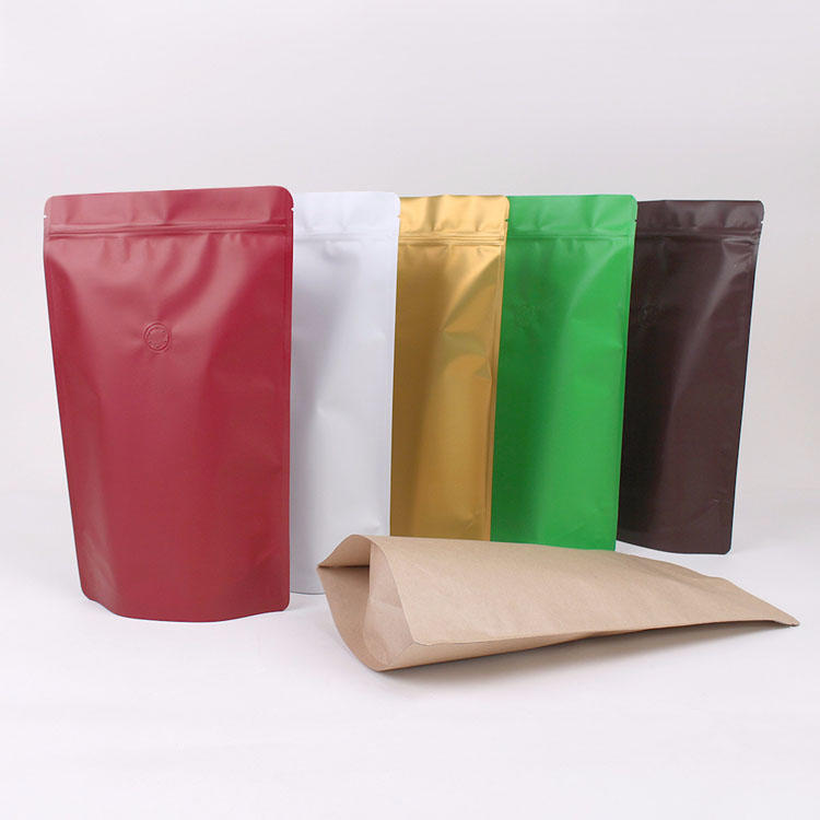 Colorful stand up aluminum foil pouch with valve for coffee packing