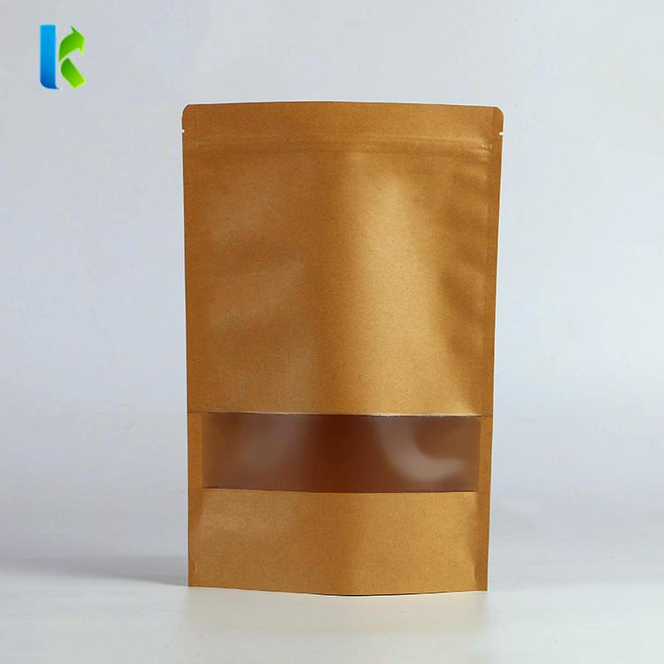 Dry food packaging bag resealable standup zipper kraft paper bag