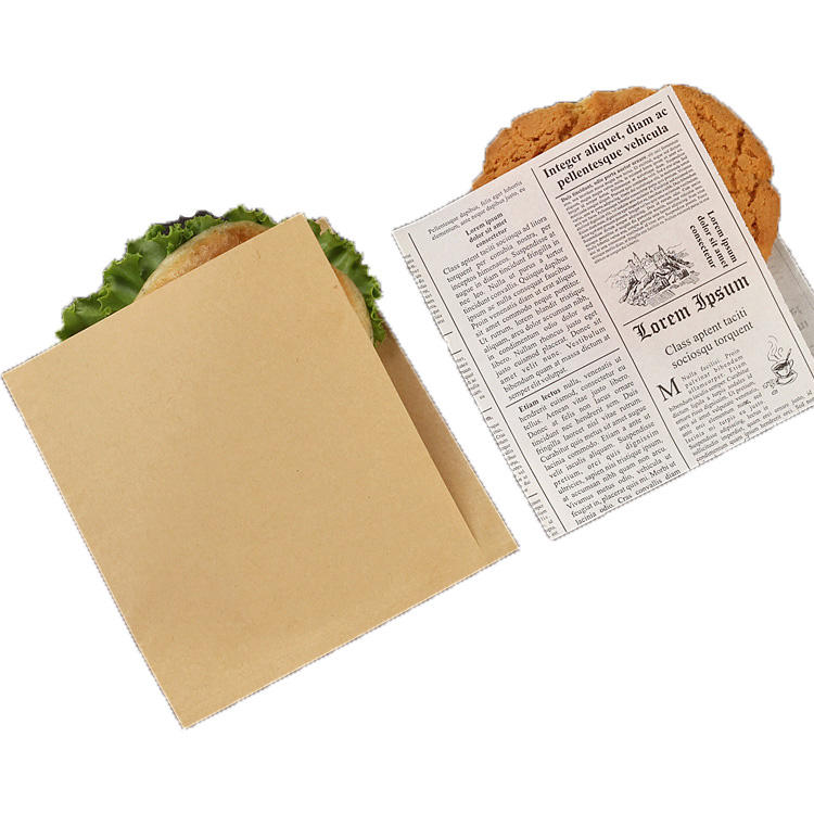 Two sides open kraft food wrapping paper bag