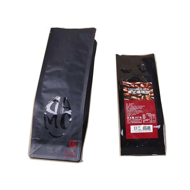 Customized food grade high quality matt black coffee bag matt white coffee bag standing up coffee bag