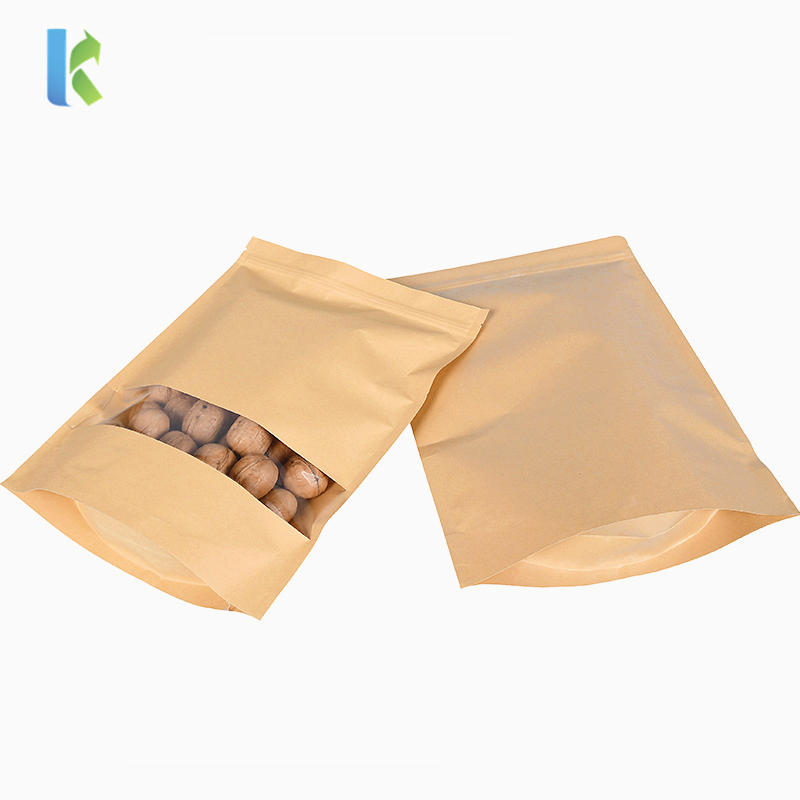 Wholesale Recycled Brown Kraft Paper Zipper Bag With Clear Window