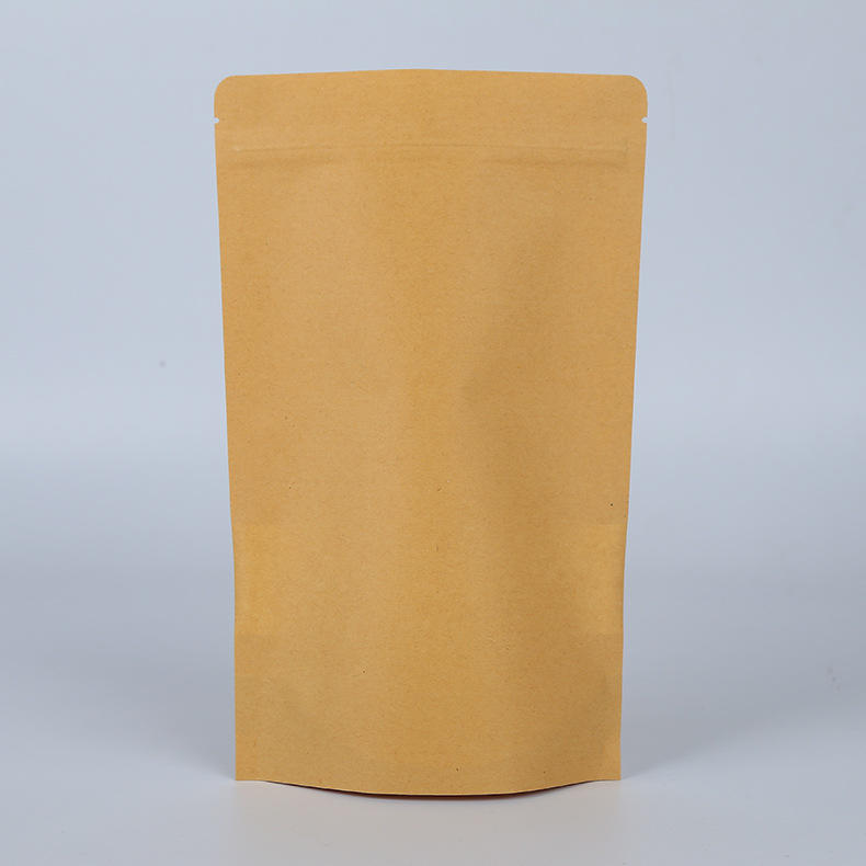 Eco friendly stand up brown kraft paper bag with window for cookies packing