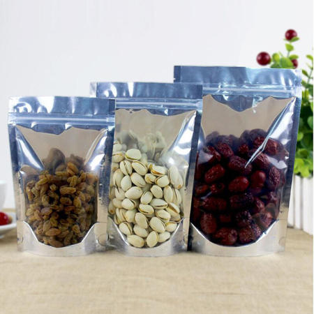 Aluminum Foil Ziplock dried fruit packaging bags with half clear front Candy Tea Nut
