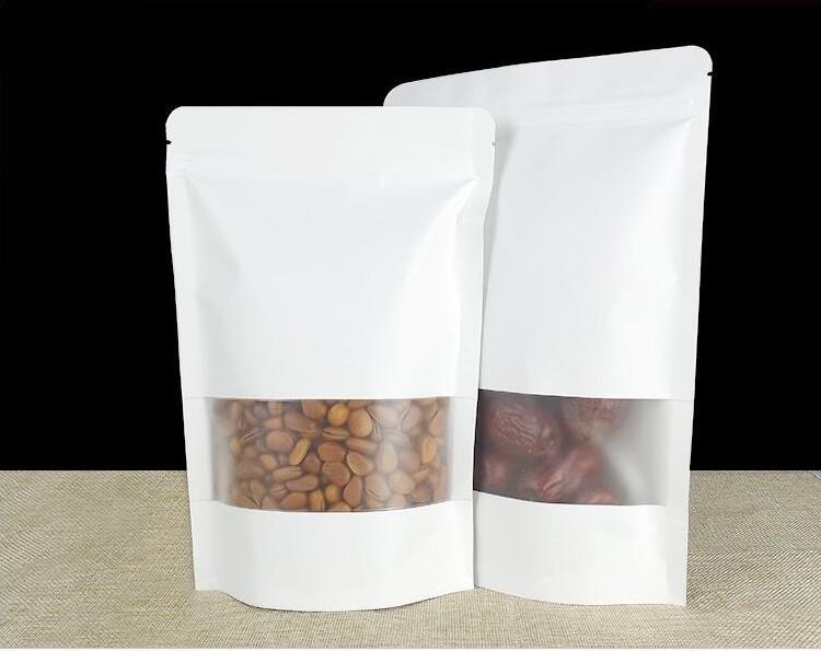 white kraft paper bags stand up pouch for packing food