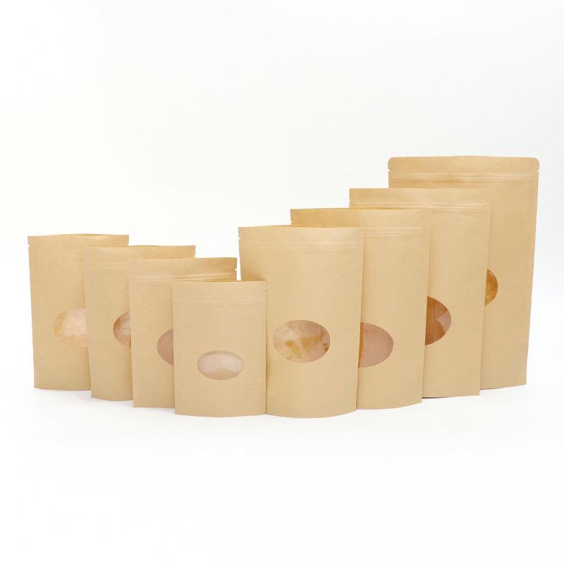 papier kraft stand up bolsa con ventana