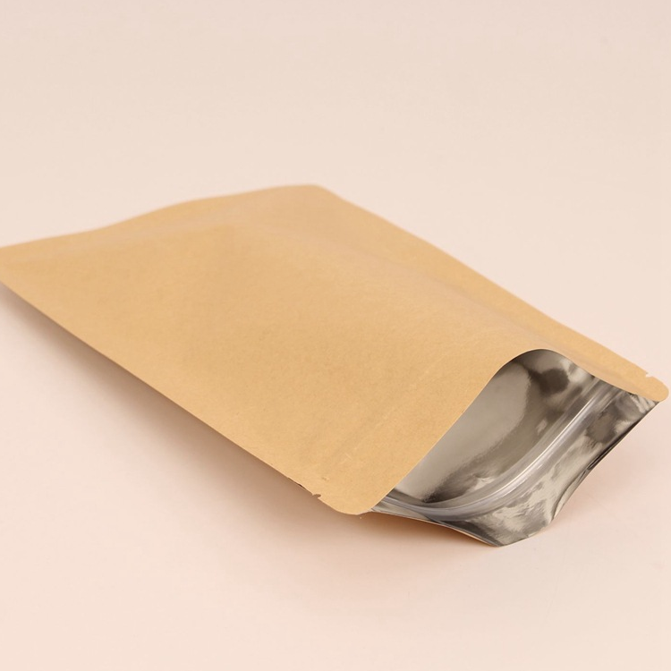 Heat seal flat kraft paper foil inside bag for dry food packaging