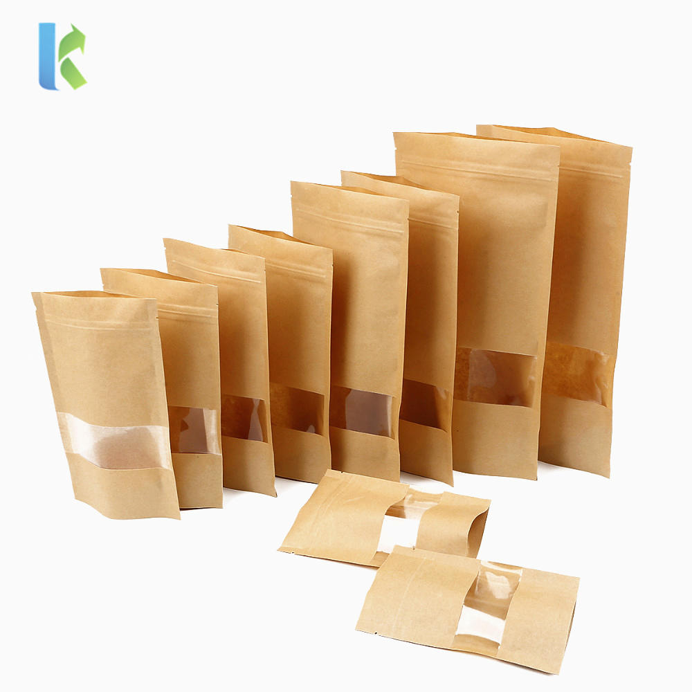 Kolysen Food Packaging Kraft Paper Stand up Bag coffee tea Zipper Pouch with Window