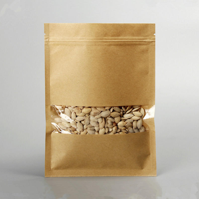 Wholesale Food Packaging Kraft Paper Stand Up Bag Coffee Tea Zipper Lock Pouch With Window