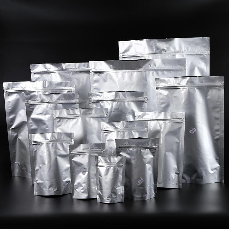 Plain silver standup zipper foil bag for tea packing