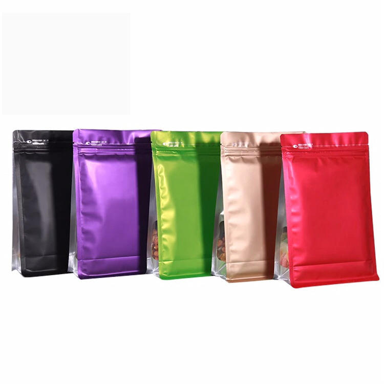 500gm custom laminated material colored flat bottom bag with window