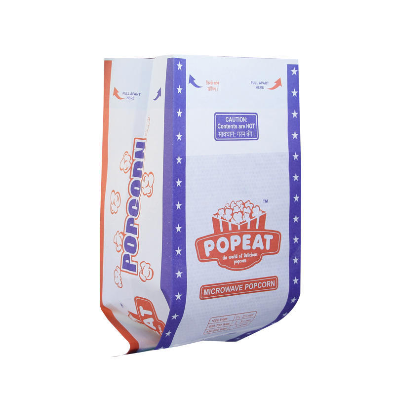 Wholesale Popcorn Bags Custom Design Sealable Greaseproof Kraft Packing Paper Bags