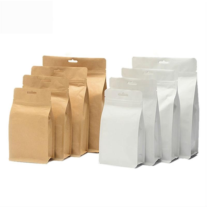 Kraft Paper Bag Square Bottom Paper Bag with window for dry food