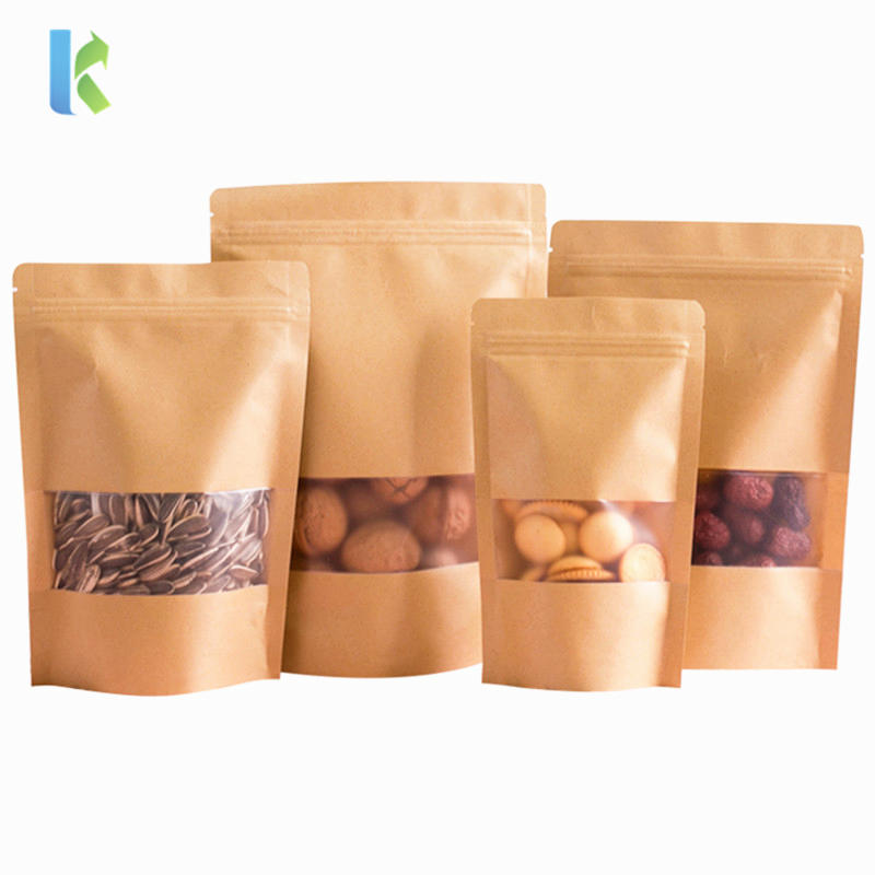 Kolysen Doypack Ziplock Brown Kraft Paper Stand Up Pouches Food Packaging Zipper Coffee Bags With Clear Window