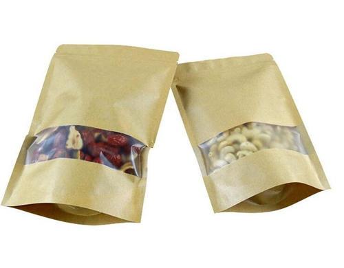 Natural brown zip lock stand up kraft paper bag