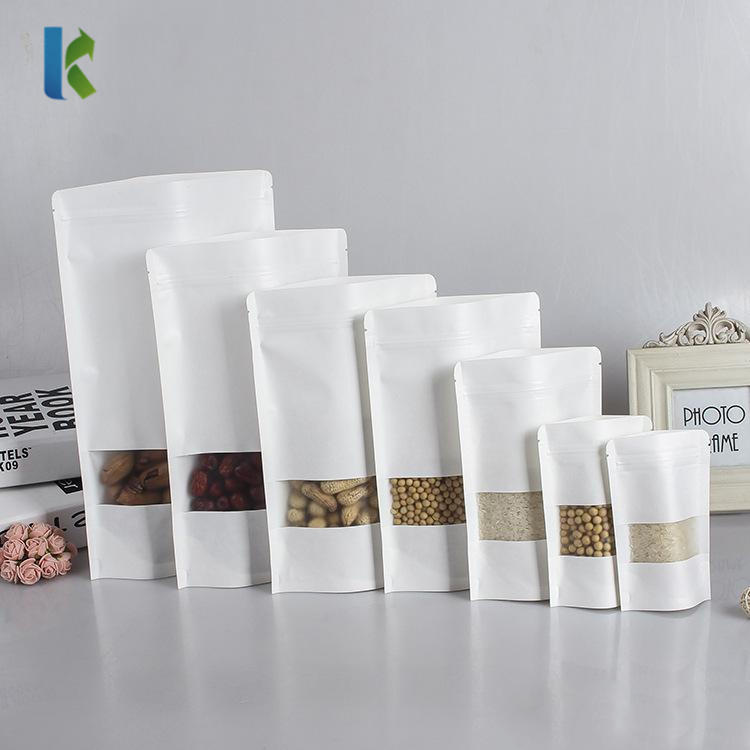 Wholesale Stand Up Pouch White Kraft Paper Coffee Bag With Window
