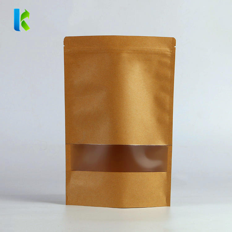 Kraft Paper Stand up Food Bags with Matte Window and Self -Sealing Zipper