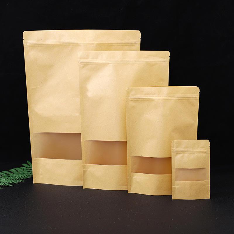 Wholesale Brown Food Packaging Kraft Paper Zipper Tea Bag With Clear Window