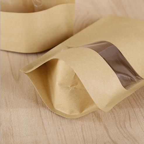 Plastic clear window Lined Kraft Paper Coffee Bean Bags