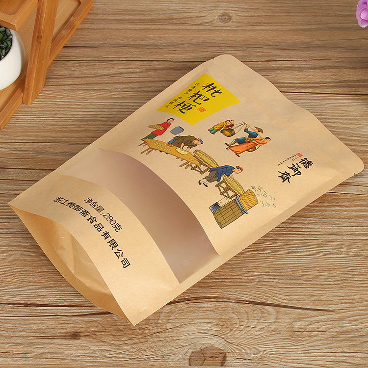 Custom logo Resealable food grade Kraft Paper Packaging Dried Fruit Bag with Frosted Window