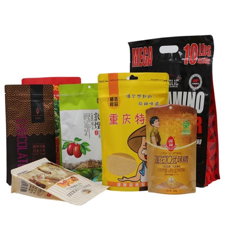 accept custom printing food grade plastic bag for snacks/nuts/tea/etc.