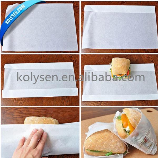 Kolysen Custom Printed Food Grade MG White Greaseproof Sandwich Packaging Paper