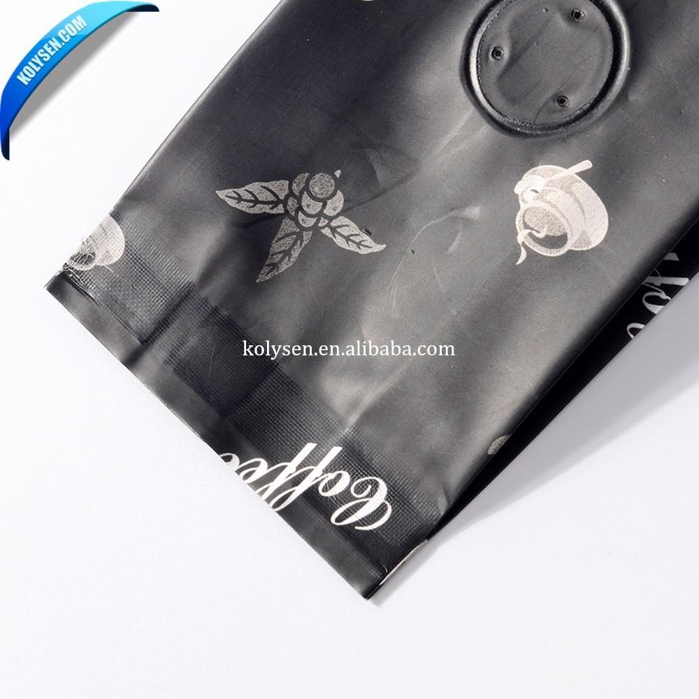 Custom printed food grade Flat bottom custom printing coffee bag with valve made in china