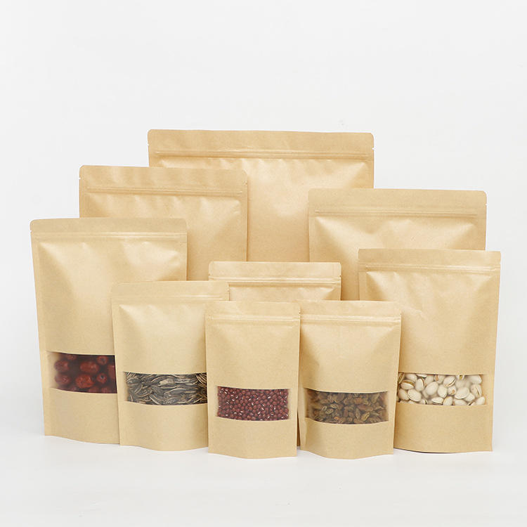 Hot Selling Stand up pouches Brown Kraft paper bag with window