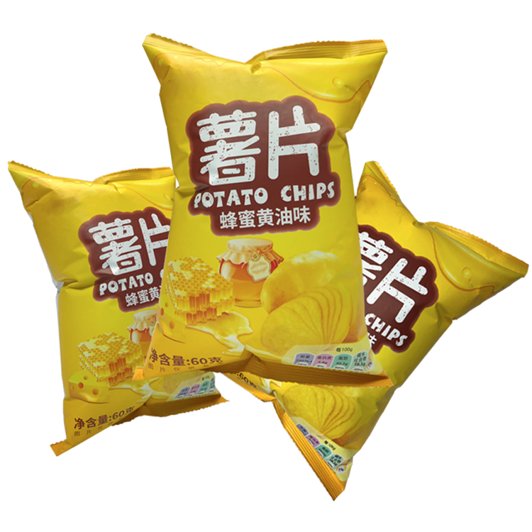 Hot sale potato chips plastic packaging bag with tear notch