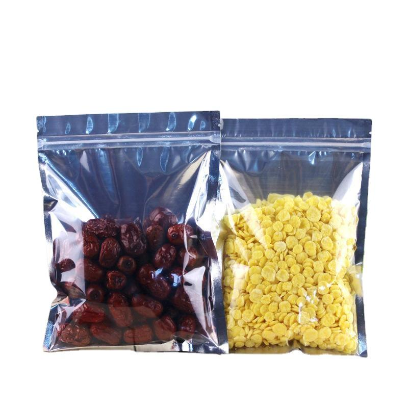 wholesale mylar zip lock transparent window silver foil flat bottom and self stand up package bag