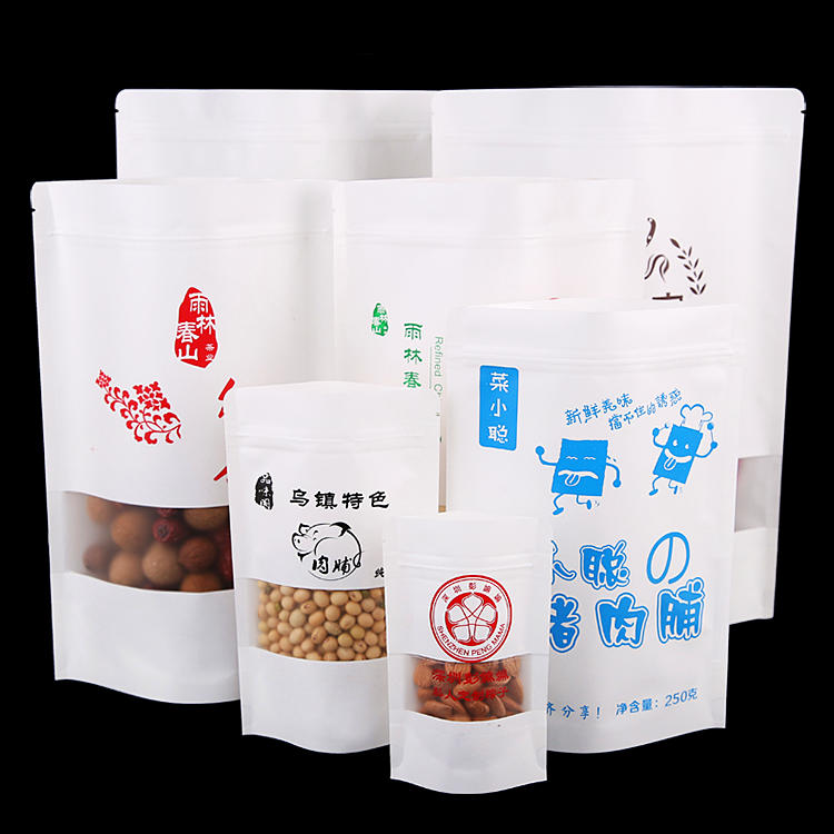 Wholesale Custom White Kraft Bags With Matte Window DoypackPaper Pouch