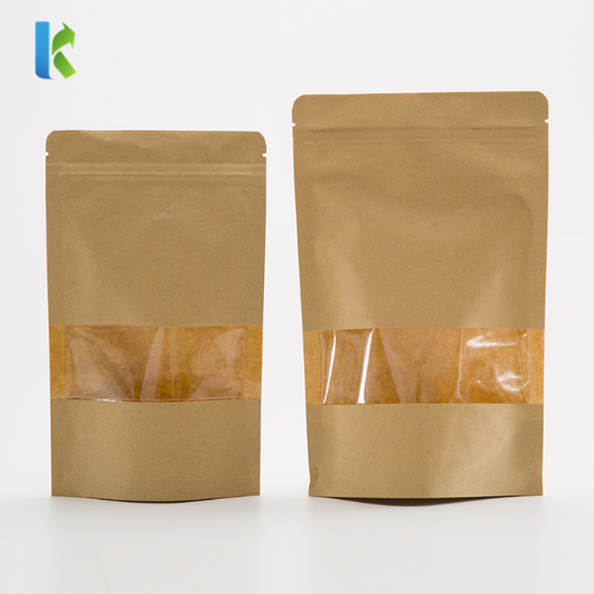 Kolysen Wholesale Clear Window Stand Up Brown Kraft Zipper Paper Bag For Snack Pouches Packaging