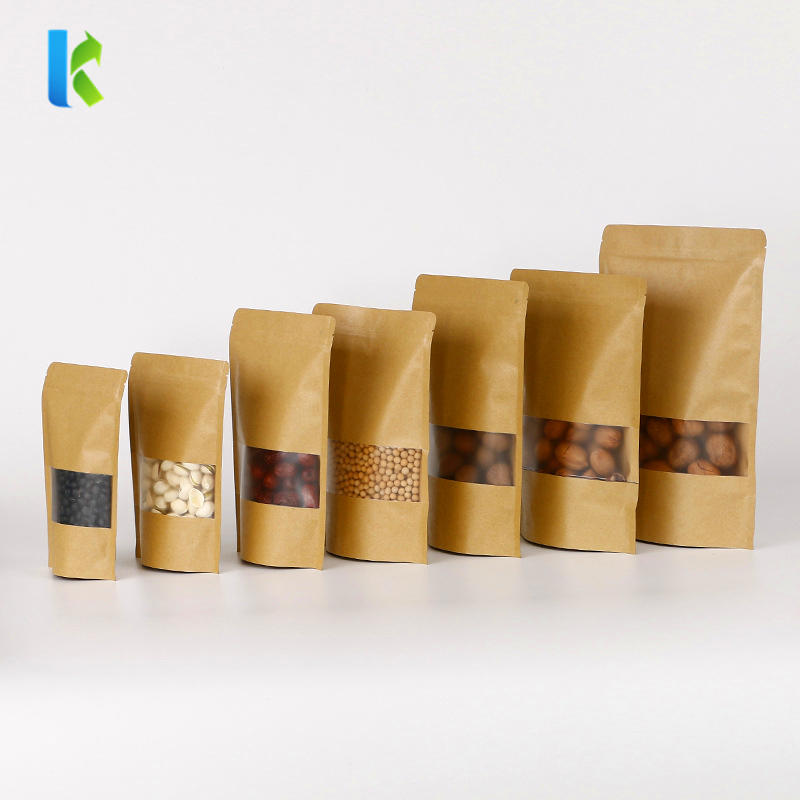 Ziplock Stand Up Pouch Kraft Paper Bags With Clear Window And Zipper