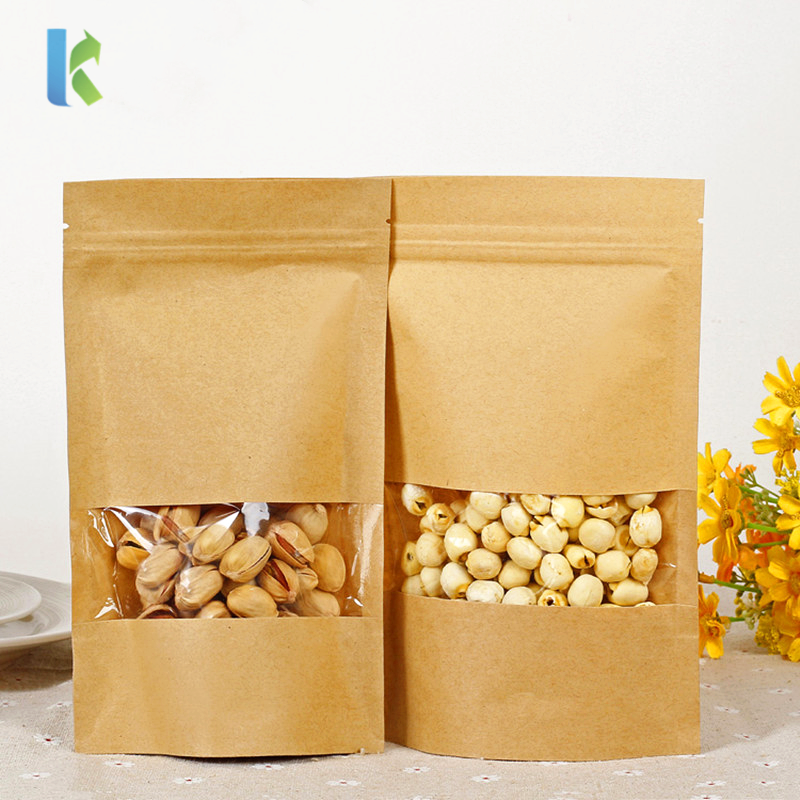14 Sizes Food Moisture Barrier Bags Ziplock Packaging Sealing Bag Brown Kraft Paper Doypack Pouch With Clear Window