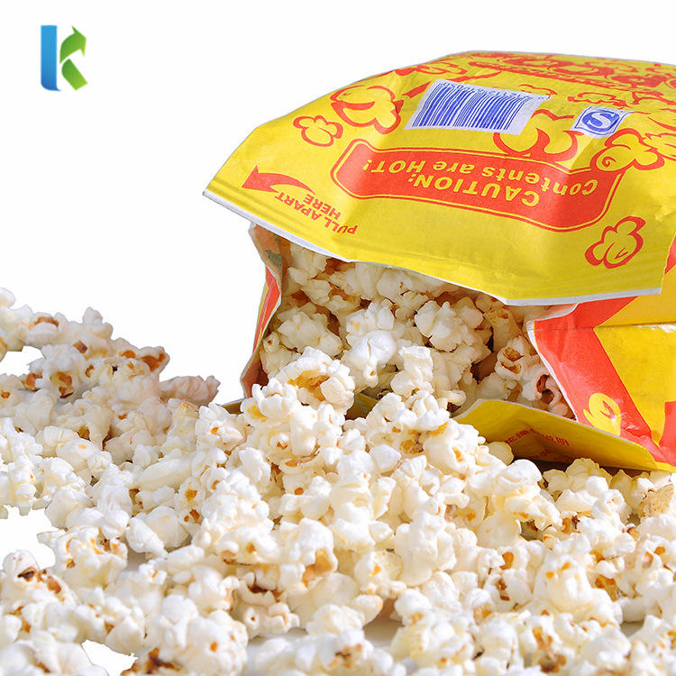 Sealable Large Design Bulk Wholesale Logo Printed New Greaseproof Paper Bags For Popcorn Packaging