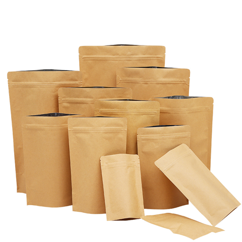 Wholesale standup ziplock kraft paper bag for nut/beans/powder packing