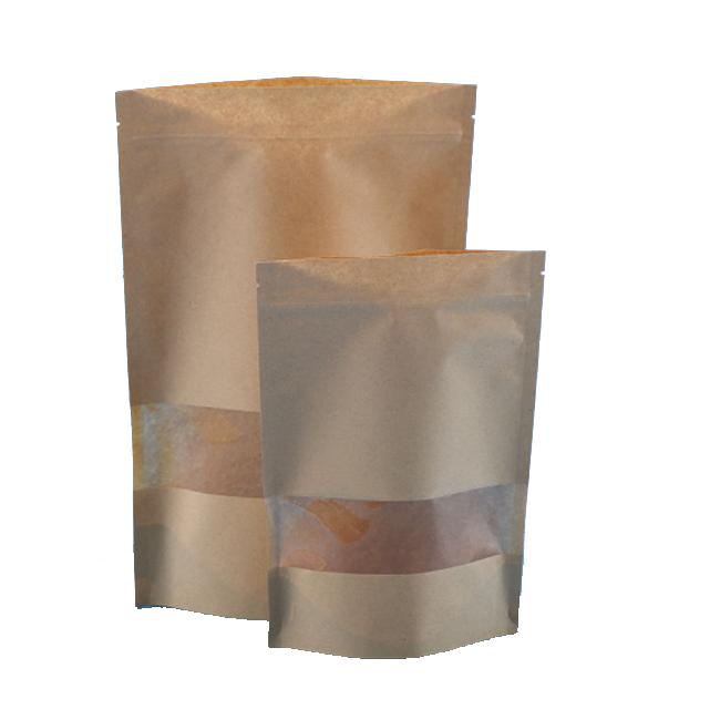 Ziplock top sealing kraft paper type packaging bag with window