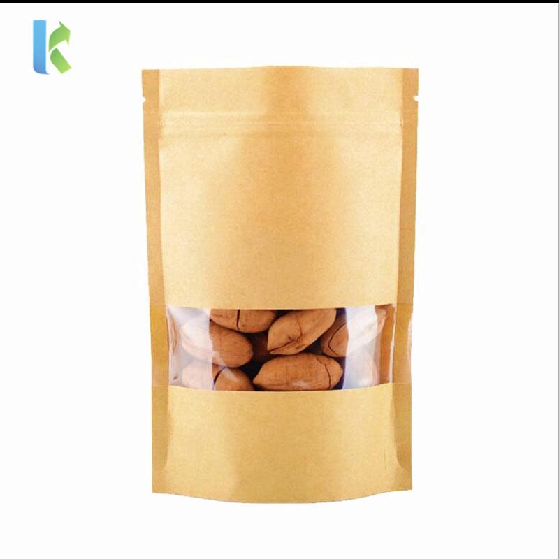 Wholesale Brown Food Packaging Kraft Paper Zipper Coffee Bag With Clear Window
