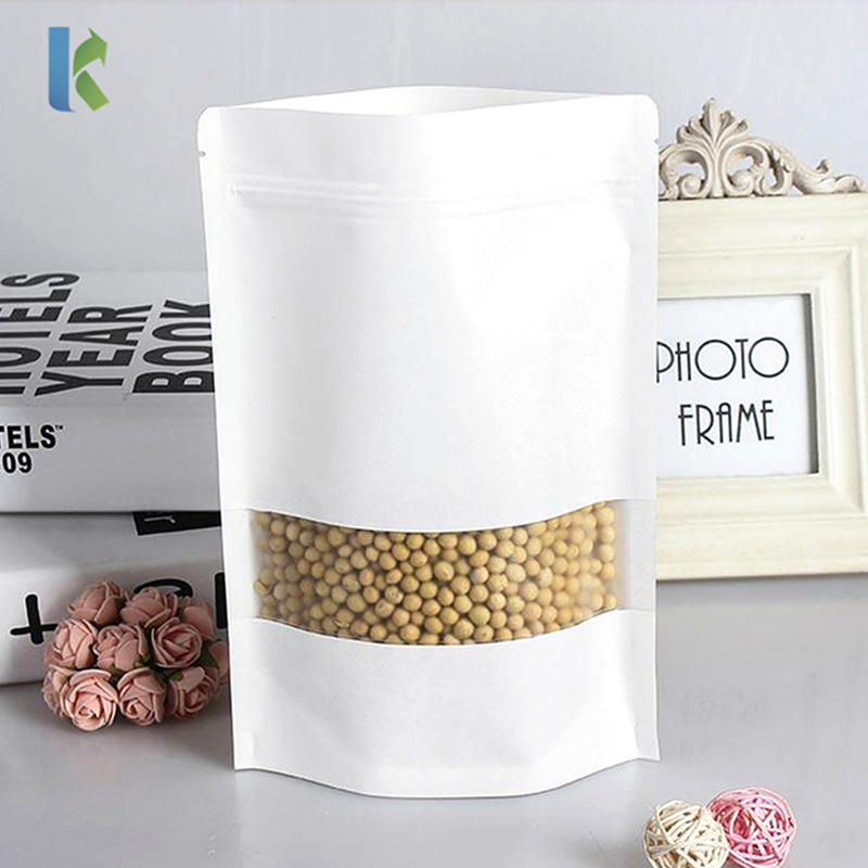Stand Up White Kraft Paper Bag With Matte Transparent Windowstorage Charcoal Powder Paper Pouch Reopenable