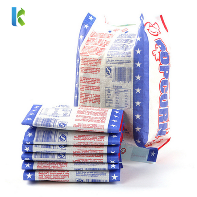 Microwavable popcorn bag greaseproof paper bag flat bag with side gusset