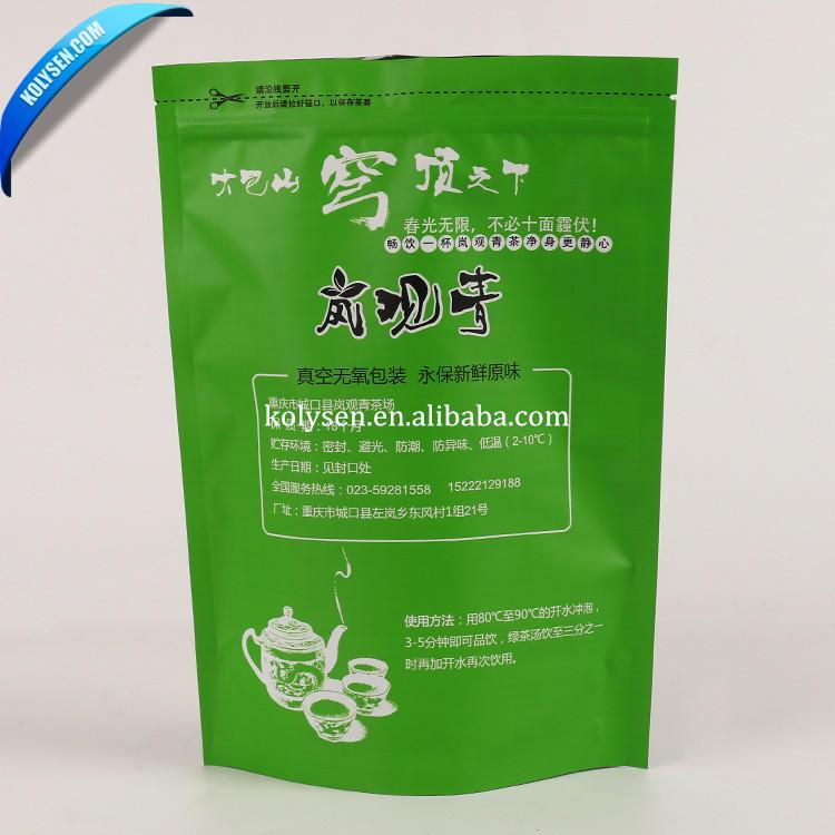 Factory customized Green tea bags standup with a zipper