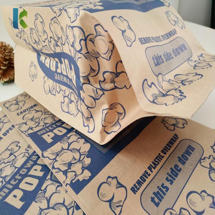 Microwave Custom Design Wholesale New Sealable BulkGreaseproofPaper Bags For Popcorn Packaging