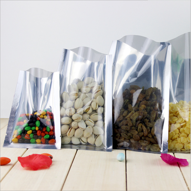 Laminated 3 sides sealed Aluminum Foil Bag with half clear front for snacks