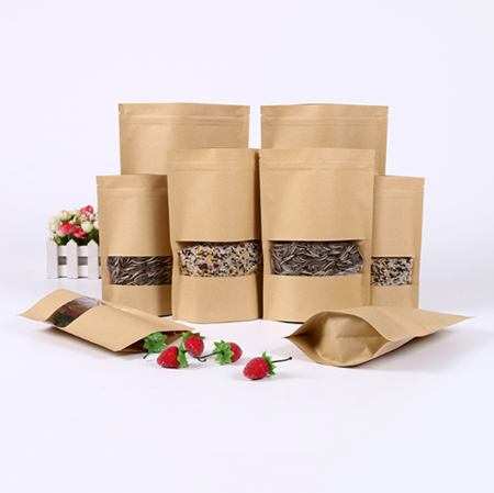 Cheap brown color kraft paper pouch with clear window for food