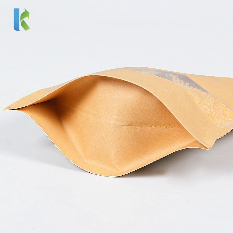 Paper Bags Stand Up Kraft Bag With Clear Window ZipLock Doypack Pouch Sealable Coffee Food Candy Storage
