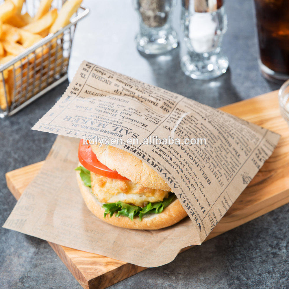Custom printed two sides seal grease proof paper sandwich burger take away bag in china