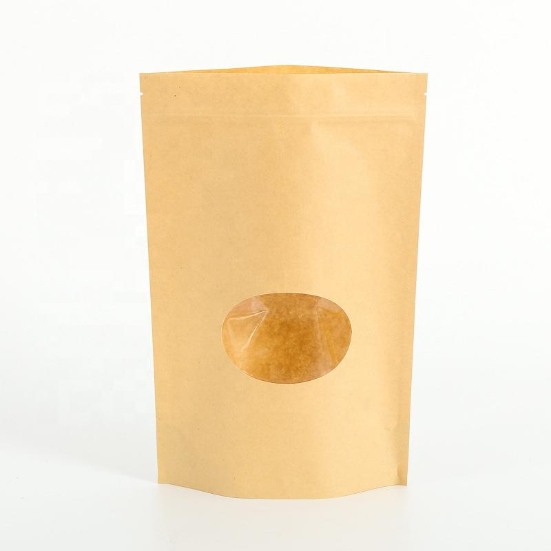Top Zip Plastic Bag/ Round Bottom Kraft Paper Bags with Clear Window
